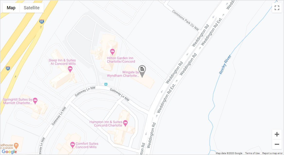 Wingate by Wyndham Concord/Charlotte Area map linking to Google maps.